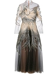 Valentino Feather Embellished Tulle Gown Nude Neutrals