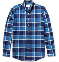 Steven Alan Masters Button Down Collar Checked Brushed Cotton Shirt Blue
