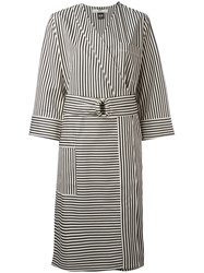 Hope Striped Wrap Dress Women Cotton Elastolefin 40 Black
