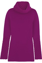 Temperley London Honeycomb Turtleneck Wool Sweater Purple