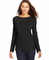 Charter Club Long Sleeve Boat Neck Pima Cotton Tee Deep Black