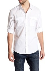 Calvin Klein Chambray Stripe Dobby Roll Tab Shirt White