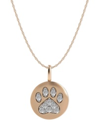 Macy's 14K Rose Gold Necklace Diamond Accent Paw Disk Pendant