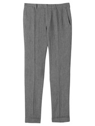 Jigsaw Linen Melange Slim Fit Trousers Grey