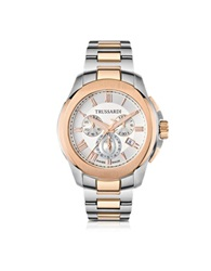 Trussardi T01 Gent Stainless Steel And Rose Gold Pvd Men's Chronograph Watch Silver