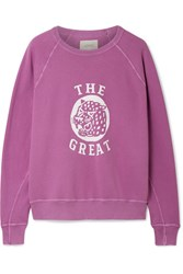 The Great College Distressed Printed Cotton Terry Sweatshirt Plum