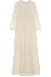 Anna Sui Crochet Paneled Embroidered Tulle Maxi Dress Cream