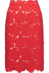 Alice Olivia Farrel Floral Crochet Skirt Red