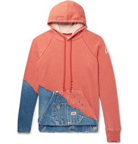 Greg Lauren Paneled Distressed Loopback Cotton Jersey And Denim Hoodie Coral