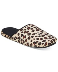 Charter Club Micro Velour Memory Foam Scuff Slippers Only At Macy's Leopard