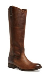 Women's Frye 'Melissa Button' Leather Riding Boot Dark Brown Dark Brown