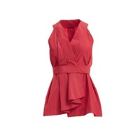 Wtr Red Paper Touch Peplum Top