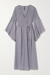 Mother Of Pearl Net Sustain Checked Woven Midi Wrap Dress Navy