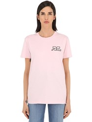 Courreges Logo Print Cotton Jersey T Shirt Pink