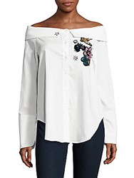 Saks Fifth Avenue Red Off The Shoulder Cotton Blend Top White