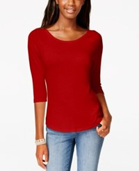 American Rag Three Quarter Sleeve Layering T Shirt Only At Macy's Chili Pepper