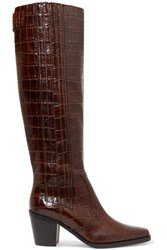Ganni Western Croc Effect Leather Knee Boots Brown