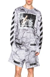 Off White Marble Print Graphic Tee In Gray Abstract