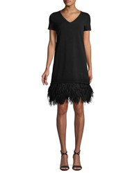 Milly V Neck Short Sleeve Feather Hem Dress Black