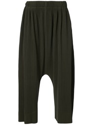 Homme Plisse Issey Miyake Pleated Drop Crotch Trousers Polyester Green