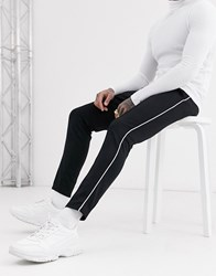 Only And Sons Side Stripe Jersey Joggers In Black