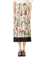 Gucci Flora Snake Silk Skirt Ivory Black