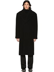 Balenciaga Over Herringbone Wool Blend Coat Black