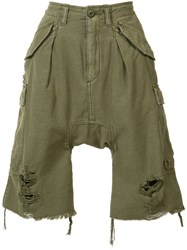 R 13 R13 Distressed Cargo Shorts Green