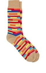 Richard James Broken Stripe Mid Calf Socks Nude