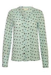 Yumi Bird Print Blouse Blouse Mint Neon Green
