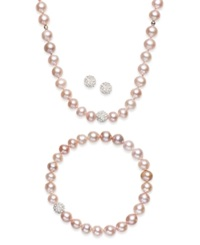 Macy's Sterling Silver Jewelry Set Cultured Freshwater Pearl 7 7 1 2Mm And Crystal 8Mm Necklace Bracelet And Earrings Set Pink