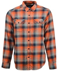 Columbia Men's Auburn Tigers Long Sleeve Flannel Button Up Shirt Navy Orange Gray