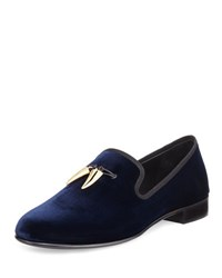 Giuseppe Zanotti Velvet Formal Loafer With Golden Horns Navy