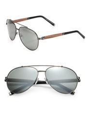 Montblanc 60Mm Metal Aviator Sunglasses Gunmetal