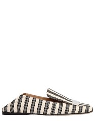 Sergio Rossi 10Mm Metal Plaque Woven Canvas Loafers White Black