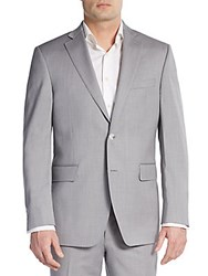 Saks Fifth Avenue Black Slim Fit Wool Sportcoat Pearl Grey