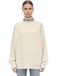 Alexander Wang Embellished Collar Wool Blend Sweater Ivory