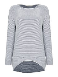 Oui Textured Stripe Jumper Dark Blue