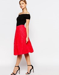 Oasis Lace Midi Skirt Coral