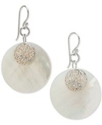 Macy's Mother Of Pearl Filigree Round Disc Drop Earrings In Sterling Silver