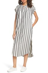 Knot Sisters Haze Shirtdress Black With Cream Stripe