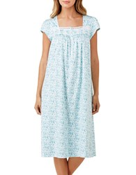 Eileen West Floral Print Lace Trim Night Gown Blue