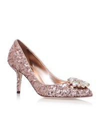 Dolce And Gabbana Bellucci Embellished Sequin Pumps 75 Female Nude