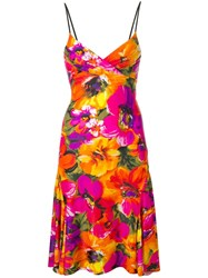 Amen Floral Print Dress Orange