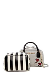 Betsey Johnson Faux Leather Peek A Boo Satchel Gray