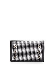 Dannijo Lenox Embellished Houndstooth Clutch Black