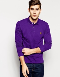 Polo Ralph Lauren Polo Shirt In Slim Fit Long Sleeve Purple