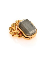 House Of Lavande Batari Pyrite Chain Ring Gold Grey
