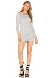 Bobi Supreme Jersey Long Sleeve Ruched Mini Dress Gray