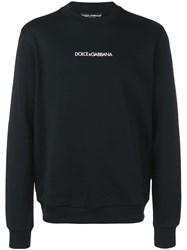 Dolce And Gabbana Contrast Logo Jumper Black